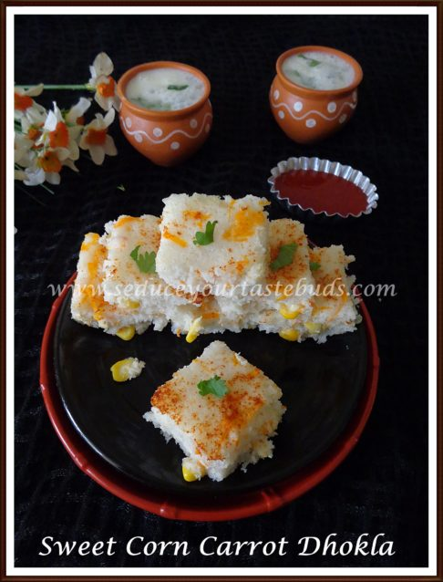 How to make Quick Sweet Corn - Carrot Dhokla