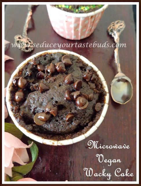 1 minute microwave vegan wacky cake