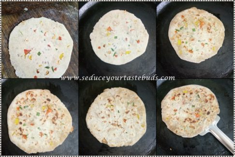 Papad and Capsicum Stuffed Paratha Recipe