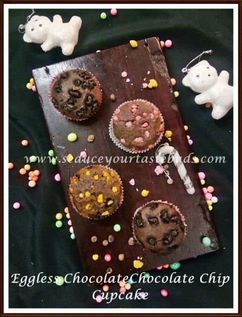Eggless Chocolate Chocolate Chip Cupcakes Recipe