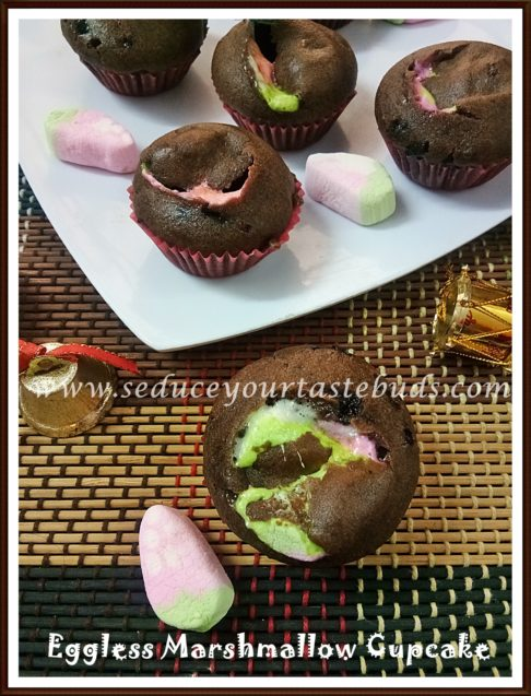 Eggless Marshmallow Cupcake Recipe