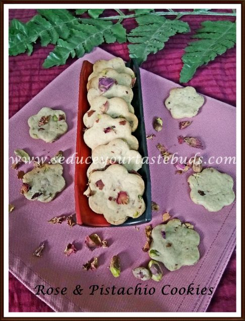 Eggless Rose Pistachio Cookies Recipe